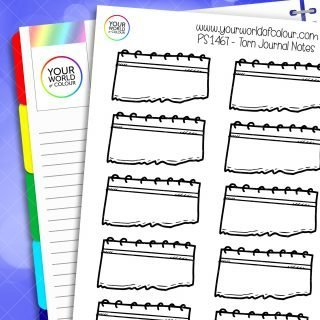 Torn Journal Notes Planner Stickers