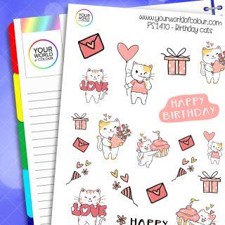 Birthday Cats Planner Stickers