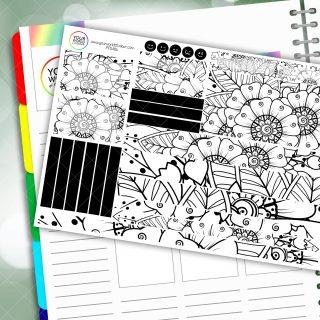 Mono Flower Passion Planner Daily Sticker Kit