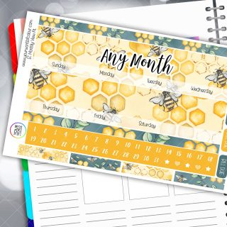 Bees Monthly Planner Sticker Kit
