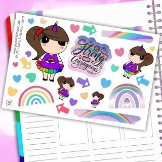 Hearts and Rainbows Journaling Planner Stickers