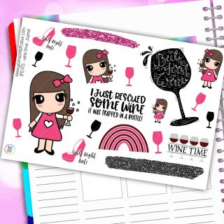 Wine Time Journaling Planner Stickers