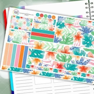 Colourful Palms Passion Planner Daily Sticker Kit