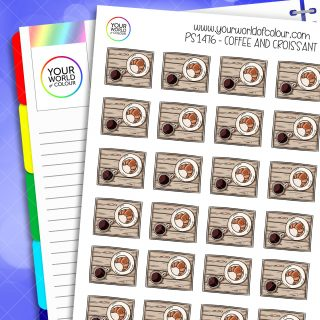 Coffee and Croissants Planner Stickers