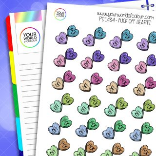 Fuck Off Hearts Planner Stickers