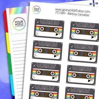 Rainbow Cassettes Planner Stickers