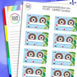 Summer Cassettes Planner Stickers
