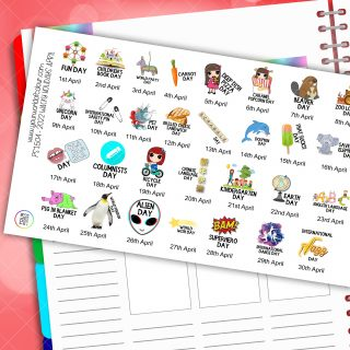 March 2022 Wacky Holidays Planner Stickers