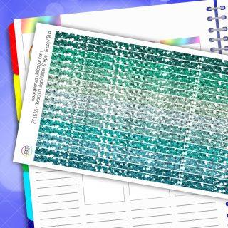 Horizontal Washi Glitter Strip Planner Stickers - Green / Blue