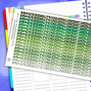 Horizontal Washi Glitter Strip Planner Stickers - Green