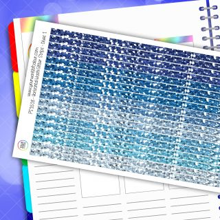 Horizontal Washi Glitter Strip Planner Stickers - Blues 1