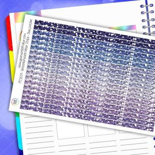 Horizontal Washi Glitter Strip Planner Stickers - Blue Purples