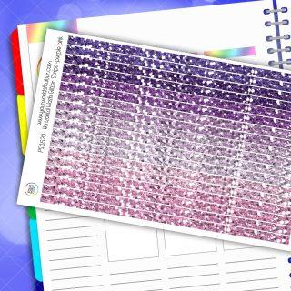 Horizontal Washi Glitter Strip Planner Stickers - Purple Pink