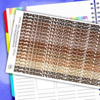 Horizontal Washi Glitter Strip Planner Stickers - Browns