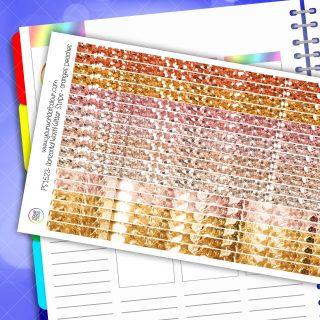 Horizontal Washi Glitter Strip Planner Stickers - Oranges Peaches