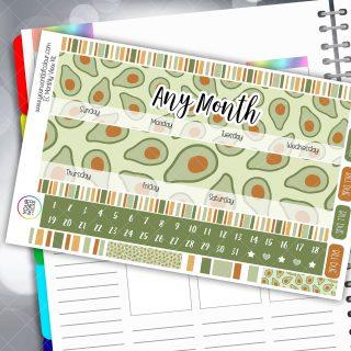 Avacado Monthly Planner Sticker Kit