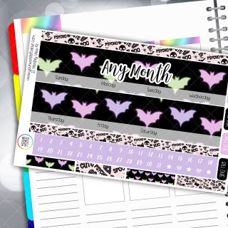 Pastel Bats Monthly Planner Sticker Kit