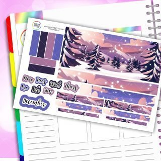 Winter Scene Monthly Passion Planner Daily Sticker Kit